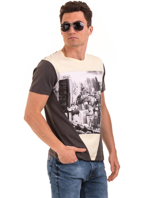 Мъжка блуза с обло деколте VIGOSS 60035 - цвят антрацит