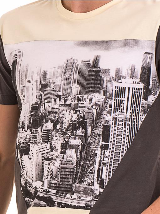 Мъжка блуза с обло деколте VIGOSS 60035 - цвят антрацит D