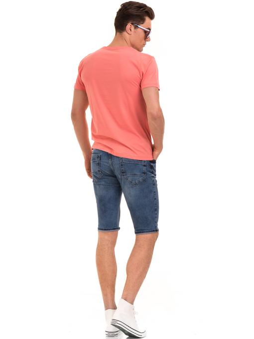 Мъжка памучна блуза с щампа VIGOSS 60048 - цвят корал E