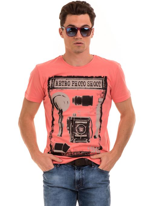 Мъжка памучна блуза с щампа VIGOSS 60048 - цвят корал