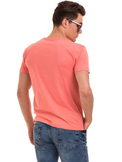 Мъжка памучна блуза с щампа VIGOSS 60048 - цвят корал B