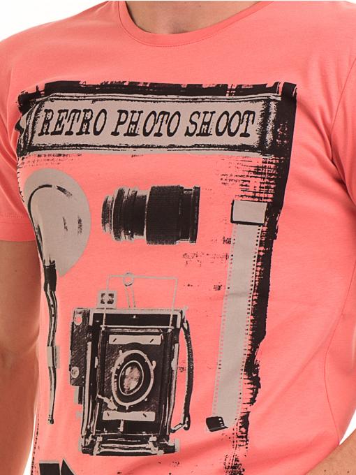 Мъжка памучна блуза с щампа VIGOSS 60048 - цвят корал D