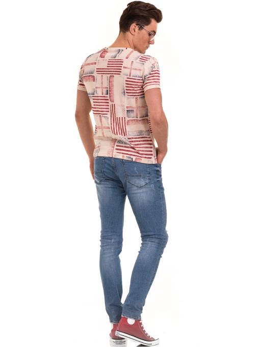 Мъжка тениска с V-образно деколте VIGOSS 60049 - светло бежова E