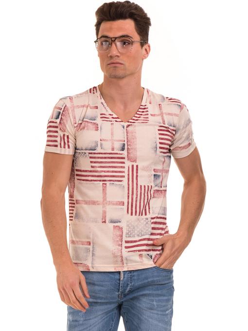 Мъжка тениска с V-образно деколте VIGOSS 60049 - светло бежова