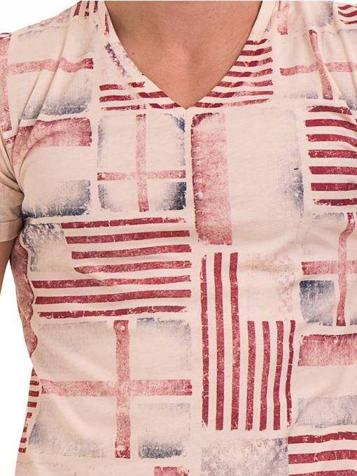 Мъжка тениска с V-образно деколте VIGOSS 60049 - светло бежова D