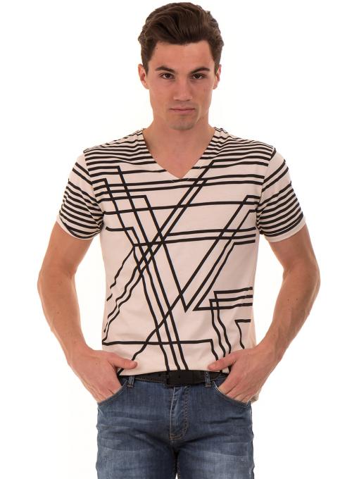 Мъжка тениска с V-образно деколте VIGOSS 60063 - светло бежова