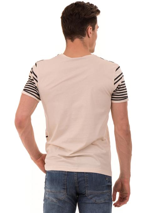 Мъжка тениска с V-образно деколте VIGOSS 60063 - светло бежова B