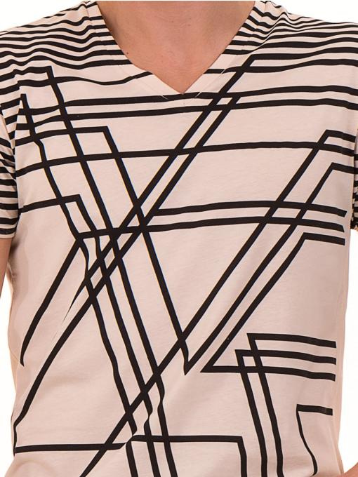 Мъжка тениска с V-образно деколте VIGOSS 60063 - светло бежова D