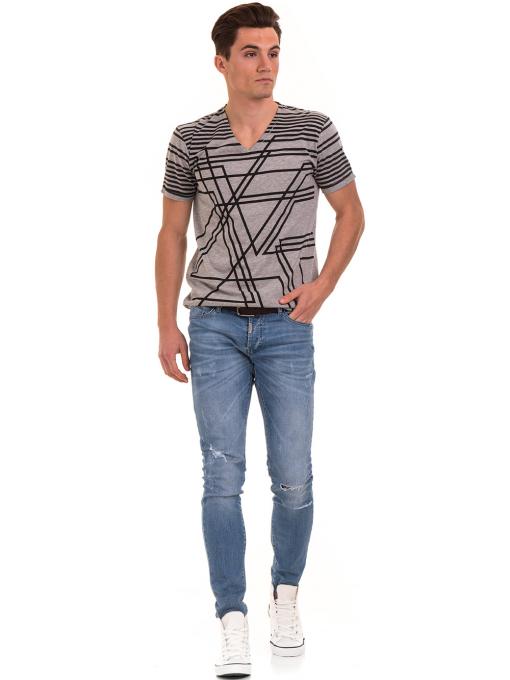 Мъжка тениска с V-образно деколте VIGOSS 60063 - сива C