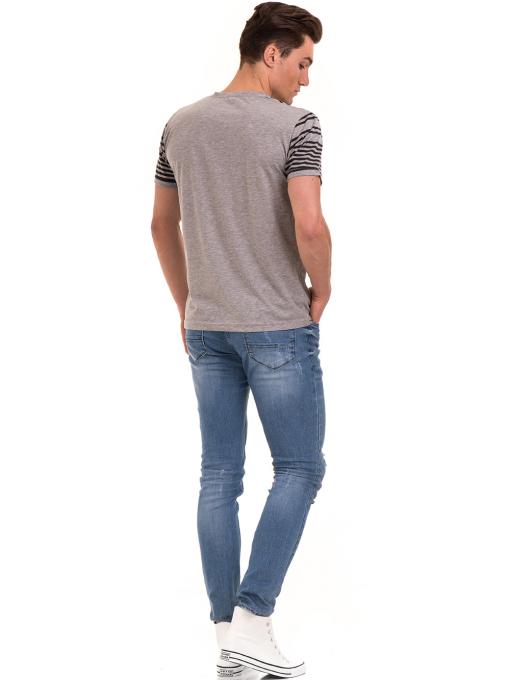 Мъжка тениска с V-образно деколте VIGOSS 60063 - сива E