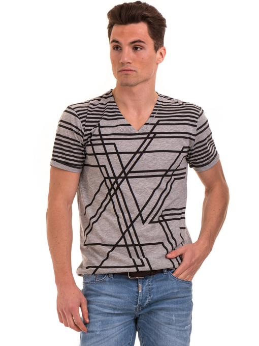 Мъжка тениска с V-образно деколте VIGOSS 60063 - сива
