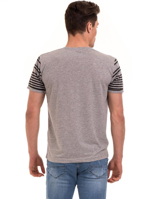 Мъжка тениска с V-образно деколте VIGOSS 60063 - сива B