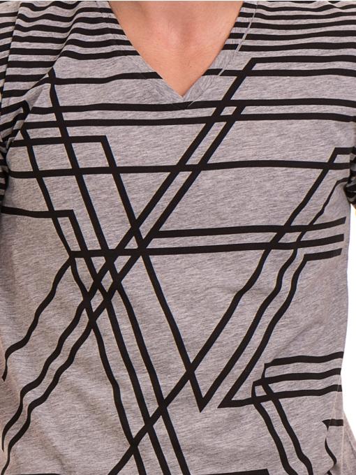 Мъжка тениска с V-образно деколте VIGOSS 60063 - сива D