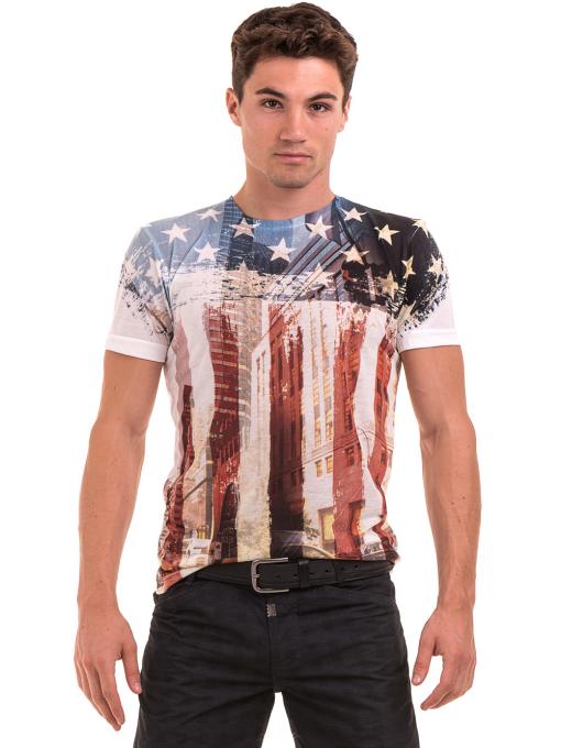 Мъжка блуза с къс ръкав и обло деколте VIGOSS 60080 - цвят екрю