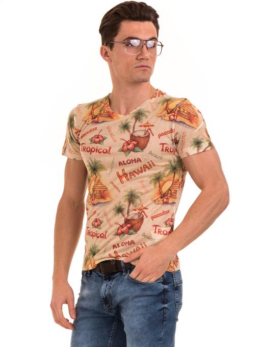 Мъжка тениска с обло деколте VIGOSS 60105 - оранжева