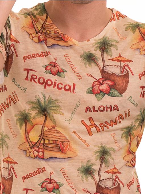 Мъжка тениска с обло деколте VIGOSS 60105 - оранжева D