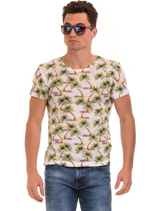 Мъжка тениска с къс ръкав VIGOSS 60109 - цвят екрю