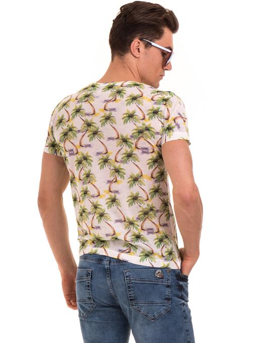 Мъжка тениска с къс ръкав VIGOSS 60109 - цвят екрю B
