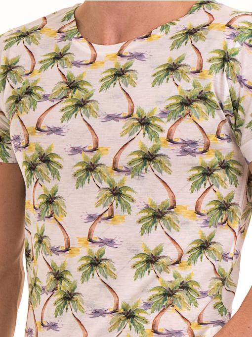 Мъжка тениска с къс ръкав VIGOSS 60109 - цвят екрю D