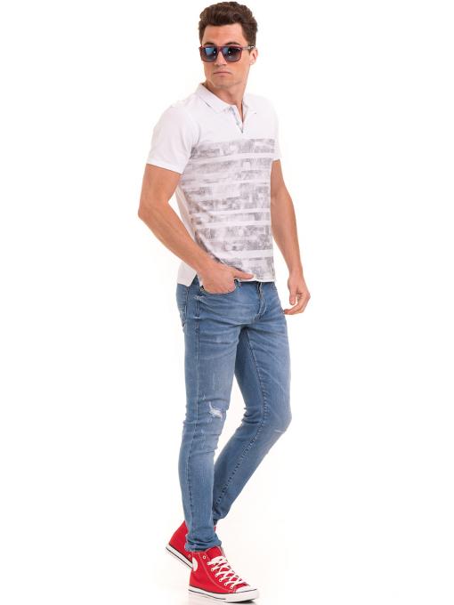 Мъжка блуза с къс ръкав и яка XINT 048 - бяла C