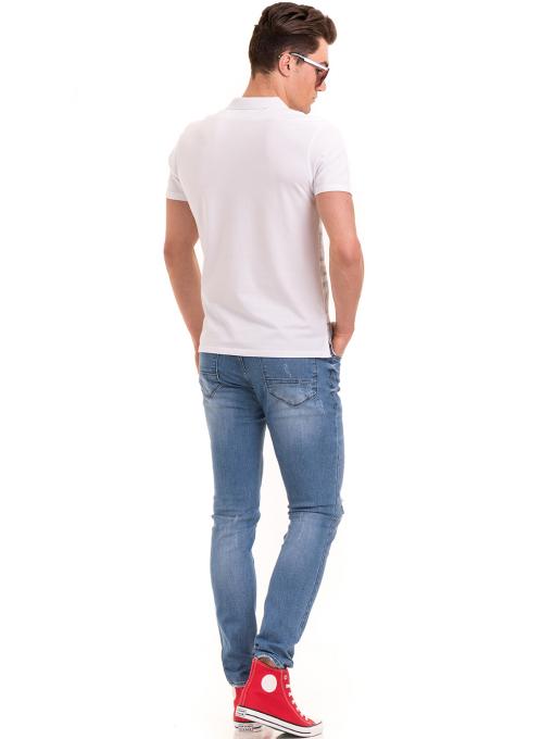 Мъжка блуза с къс ръкав и яка XINT 048 - бяла E