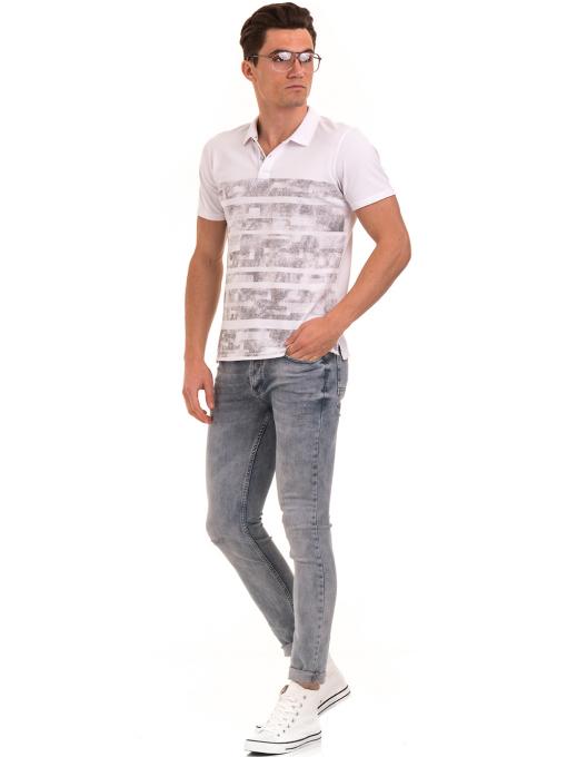 Мъжка блуза с къс ръкав и яка XINT 048 - бяла C1