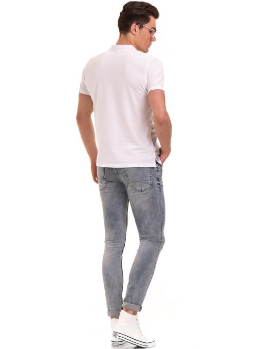 Мъжка блуза с къс ръкав и яка XINT 048 - бяла E1
