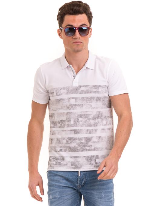 Мъжка блуза с къс ръкав и яка XINT 048 - бяла