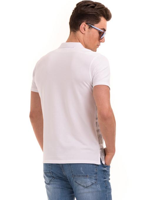 Мъжка блуза с къс ръкав и яка XINT 048 - бяла B