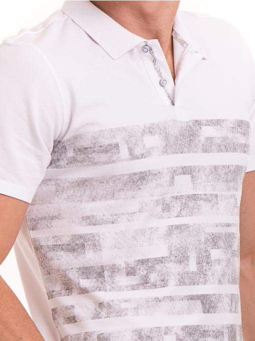 Мъжка блуза с къс ръкав и яка XINT 048 - бяла D