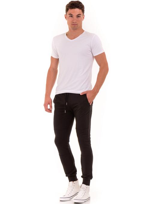 Мъжка вталена тениска XINT 078 - бяла C1