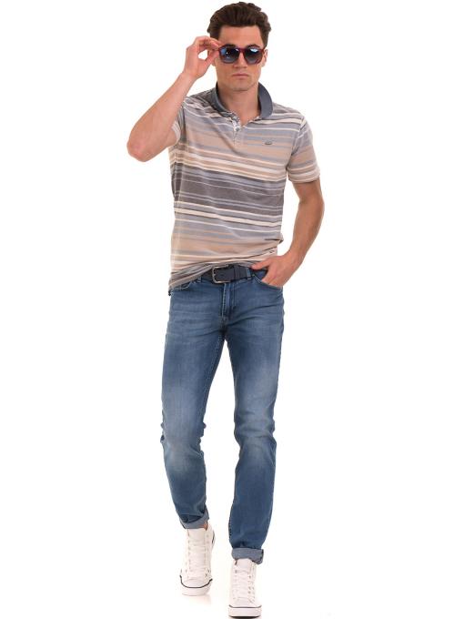 Мъжка блуза с яка и на райе XINT 089 - светло синя C