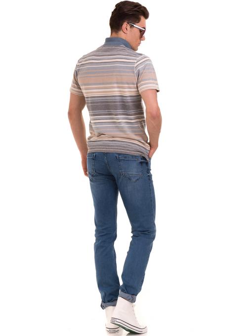 Мъжка блуза с яка и на райе XINT 089 - светло синя E