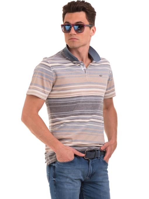 Мъжка блуза с яка и на райе XINT 089 - светло синя