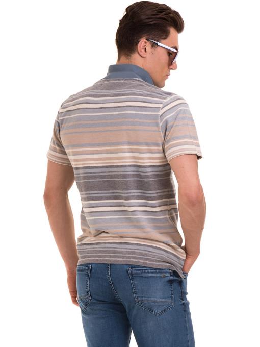 Мъжка блуза с яка и на райе XINT 089 - светло синя B