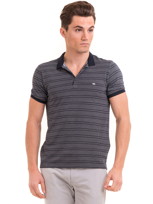 Мъжка блуза на фино райе XINT 092 - тъмно синя