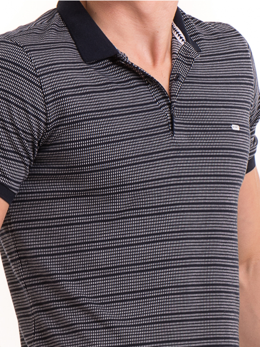 Мъжка блуза на фино райе XINT 092 - тъмно синя D