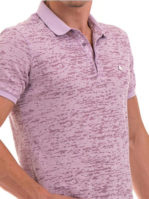 Мъжка блуза с къс ръкав и яка  XINT 095 - лилава D