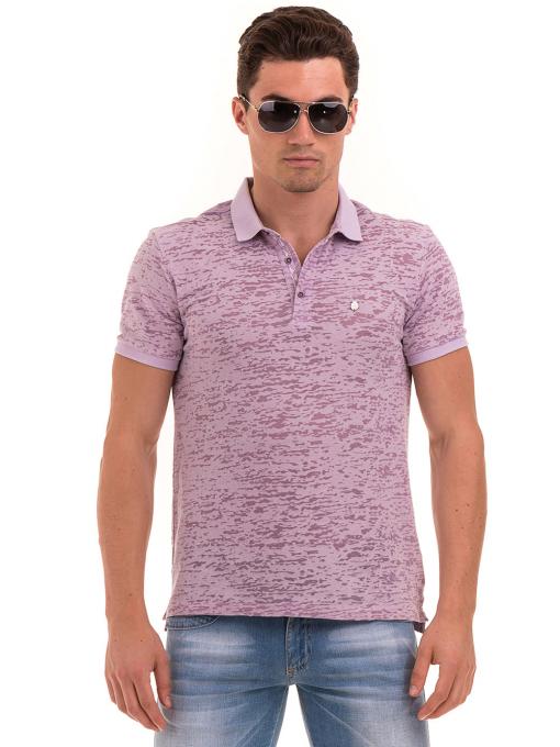 Мъжка блуза с къс ръкав и яка  XINT 095 - лилава