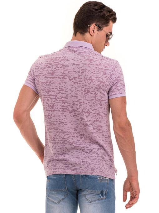 Мъжка блуза с къс ръкав и яка  XINT 095 - лилава B
