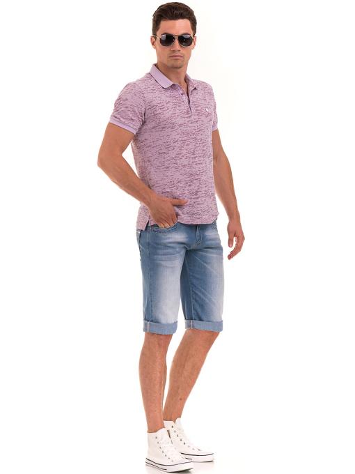 Мъжка блуза с къс ръкав и яка  XINT 095 - лилава C