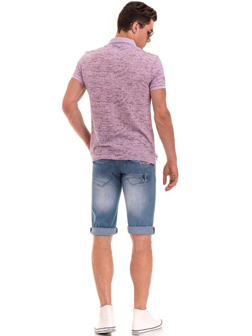 Мъжка блуза с къс ръкав и яка  XINT 095 - лилава E