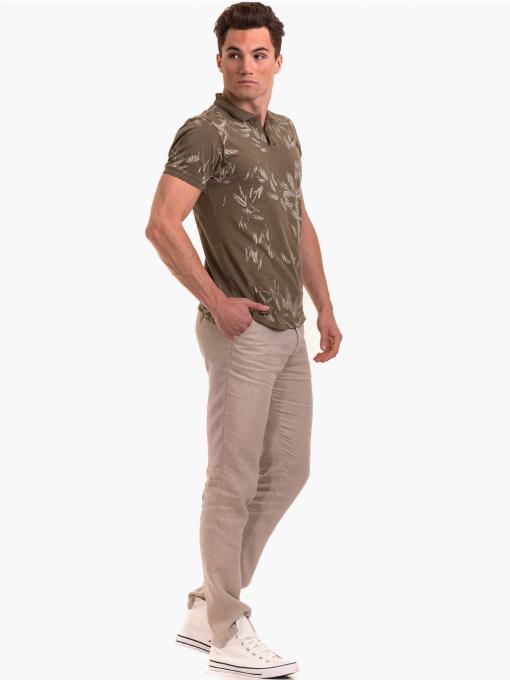 Класически мъжки ленен панталон XINT 484 - светло бежов C4