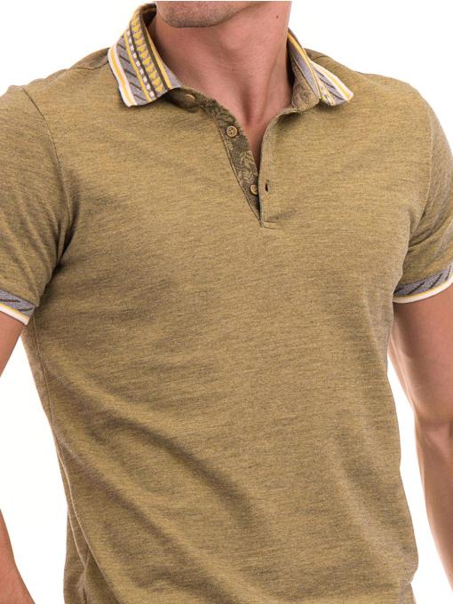 Мъжка блуза с къс ръкав и яка  XINT 107 - цвят каки D