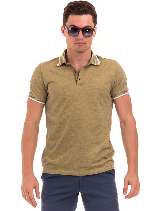 Мъжка блуза с къс ръкав и яка  XINT 107 - цвят каки
