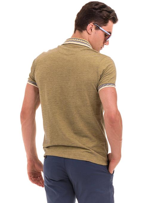 Мъжка блуза с къс ръкав и яка  XINT 107 - цвят каки B