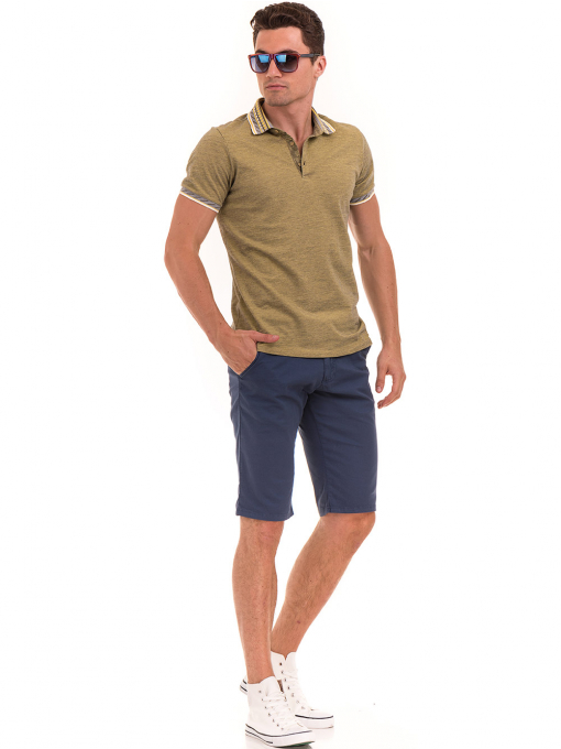 Мъжка блуза с къс ръкав и яка  XINT 107 - цвят каки E