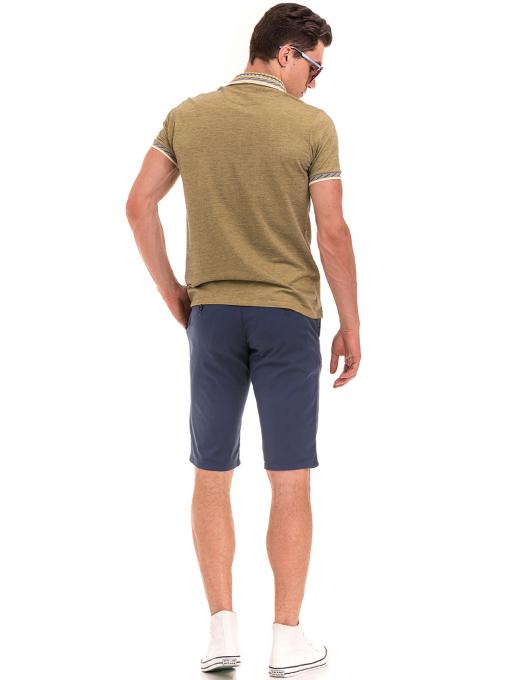 Мъжка блуза с къс ръкав и яка  XINT 107 - цвят каки C