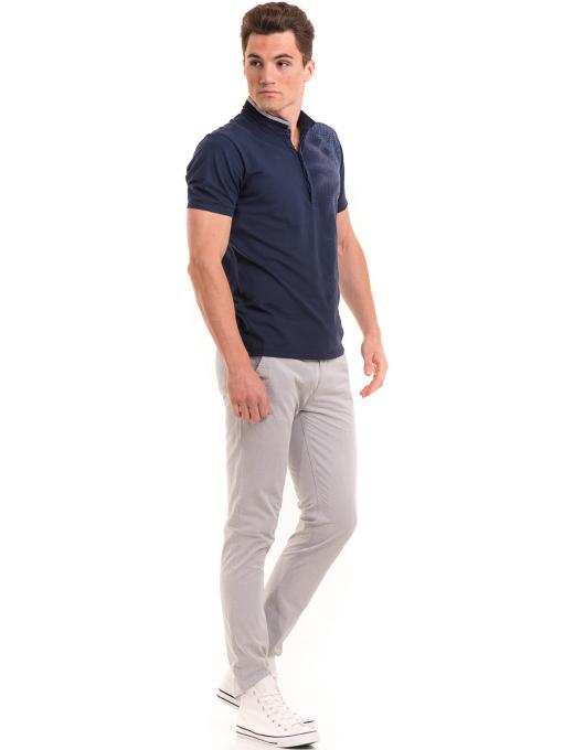 Мъжка блуза с щампа XINT 112 - тъмно синя C