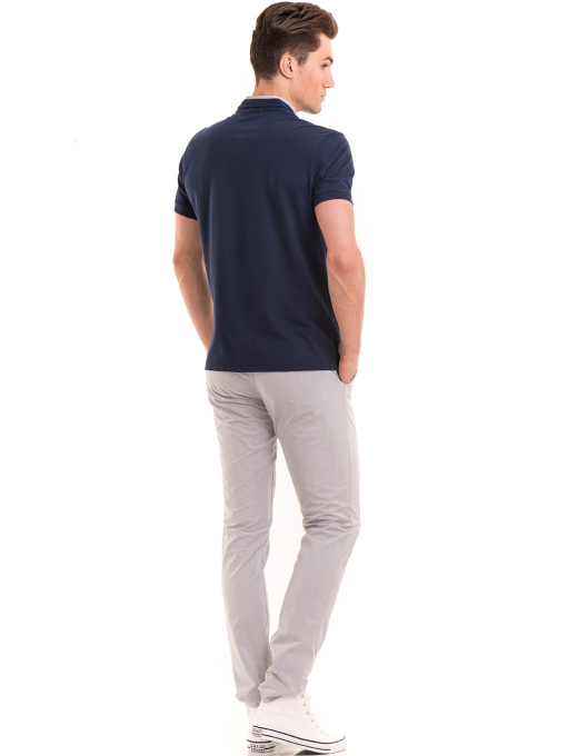 Мъжка блуза с щампа XINT 112 - тъмно синя E